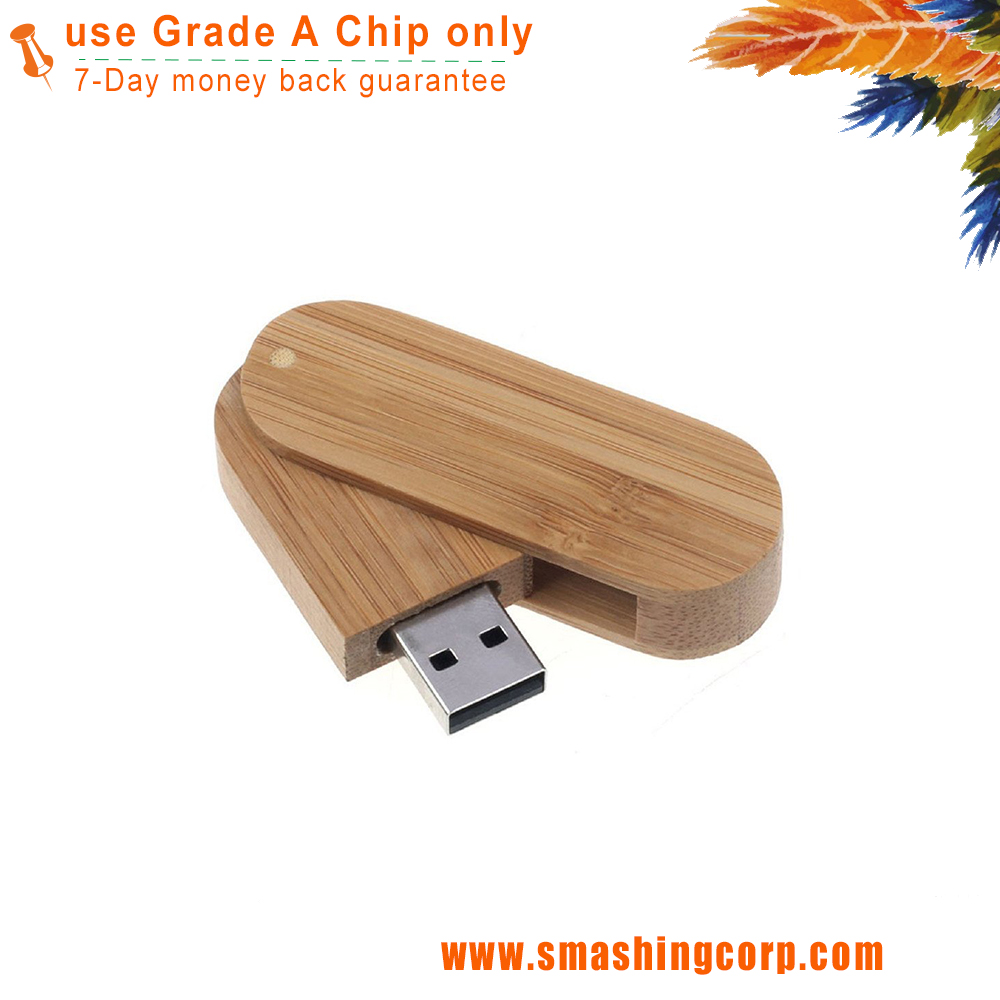 Wood Bamboo Rounded Corner Swivel Design 8GB USB Flash Drive Dark Brown