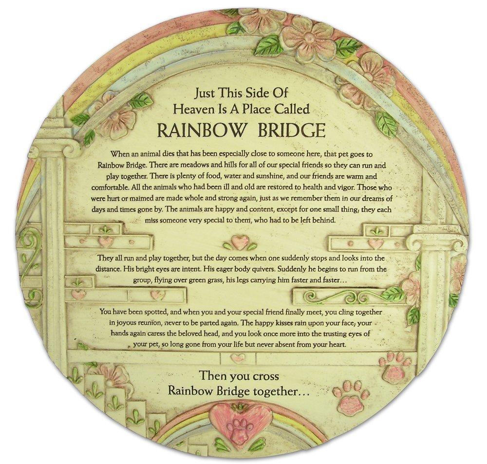 BANBERRY DESIGNS Pet Memorial Rainbow Bridge Garden Urn Stone Look Marker