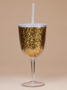9f8e6c8657f 10oz Acrylic Stemless Wine Glass with glitter insert ,Gold Glitter Wine  Tumbler,wine glass cup
