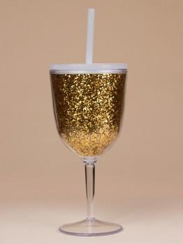 10oz Acrylic Stemless Wine Glass With Glitter Insert Gold
