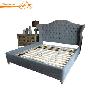 Fashion Design Frame French Style Antique Classic Furniture Luxury Oak Solid Wood King Queen Size Double Upholstered Wooden Bed
