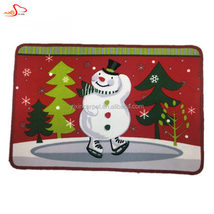 Snow man Christmas door mat Nylon printing Latex Backing Christmas cushion mat Christmas heat resistant floor mat