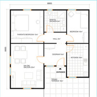 70 square meters with 2 bedrooms prefabricated home plan