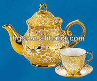 golden tea set porcelain with tea pot