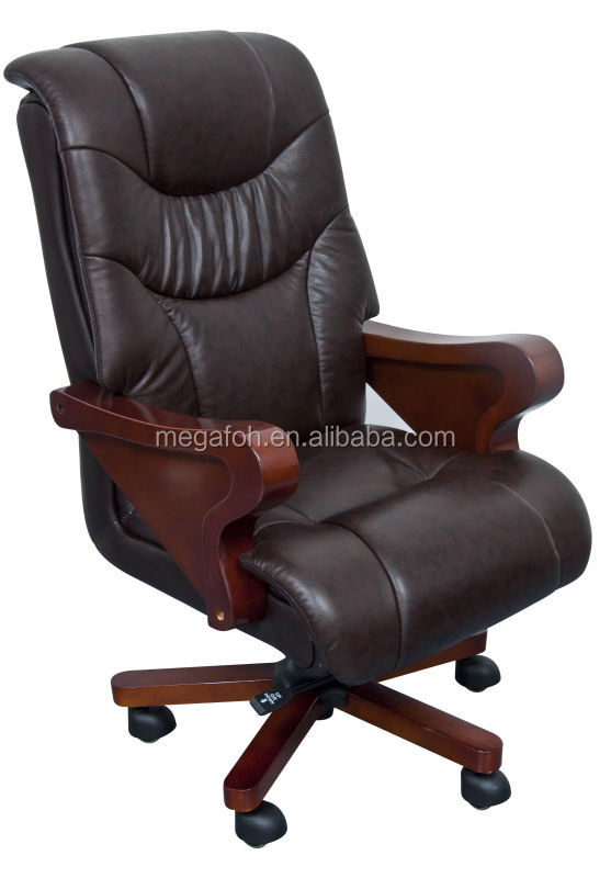 top grade genuine leather office chair with wooden armrest and