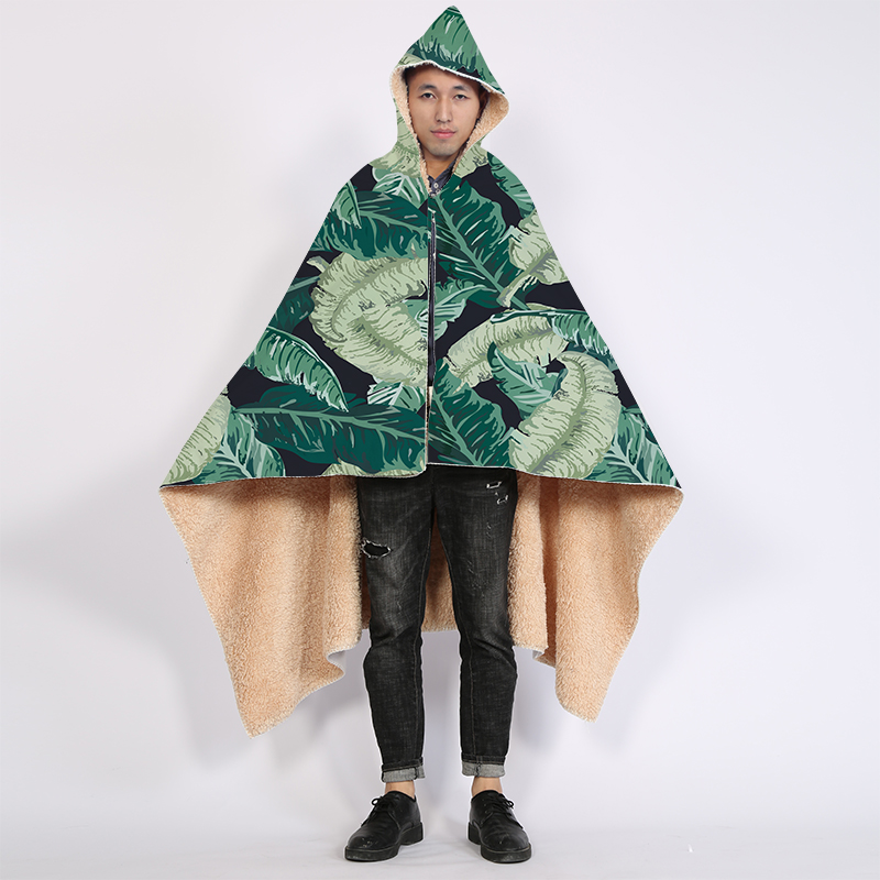 Hot Sell Soft Flannel Printed Personalized Hooded Blanket  Green plants with Bright Colors Cloak Blanket