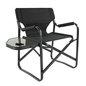 Onway Outdoor Furniture Aluminum Portable Folding Director Chair with Side Table, Camping Chair |Director Chair |Outdoor Chair |Garden Chair |Tailgating |Event, Black
