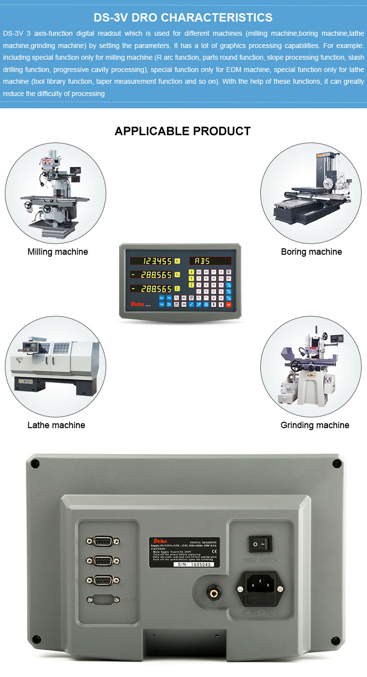 Delos multi-function EDM 3 axis digital readout DRO for milling machine