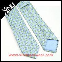 Green Blue Flower Silk Customize Necktie
