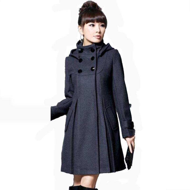 Шерсть пальто женщины X - длинная драпированный полный карманы сплошной европейский стиль зима пальто женщины пальто пальто ZLY248