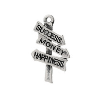 "Vintage Road Sign Signpost Antique Silver Message ""Success Money Happiness"" Carved Charm Pendants"