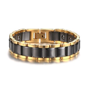 Gold plated side ceramic hematite magnetic bracelet stainless steel jewelry