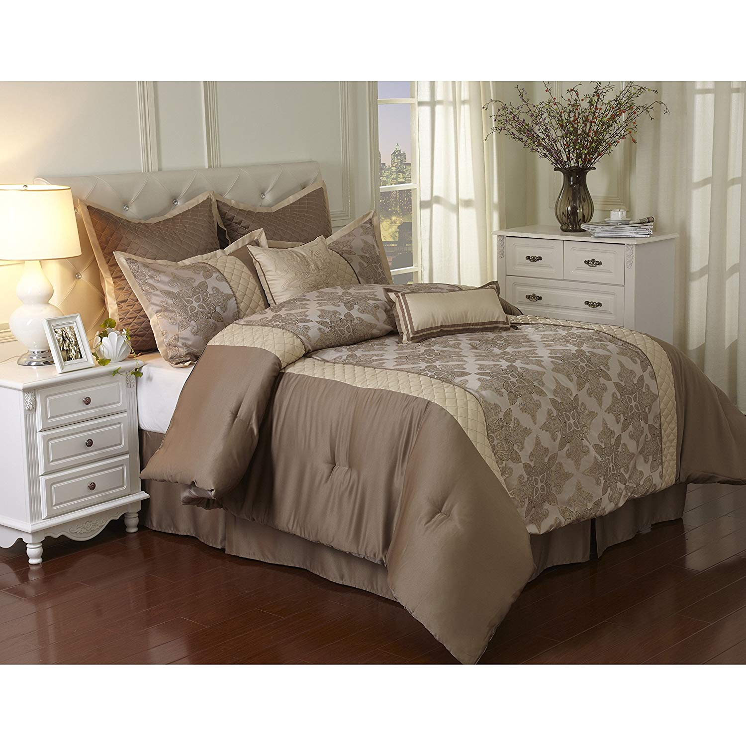 8 Piece Light Brown Damask Geometric Printed Comforter Set Queen, Grey Tan Textured Solid Blocks Jacquard Weave Pattern Adult Bedding Master Bedroom Traditional Casual Colorful, Polyester