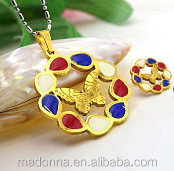 Colorful Epoxy Design Stainless Steel Jewelry Set 18K Gold Plated For Women