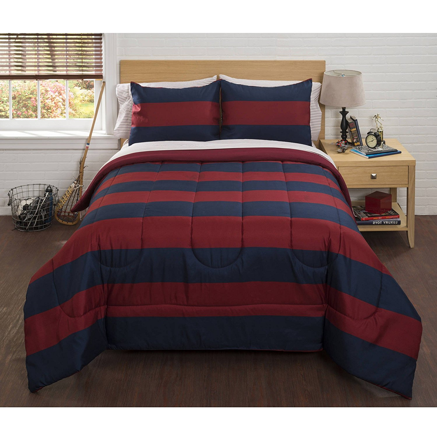UKN 5 Piece Red Navy Boys Rugby Stripes Pattern Twin Comforter Set with Sheets, Beautiful Sports Striped Nautical Theme, Horizontal Cabana Lines Print Design, Vibrant Navy Blue for Kids, Polyester