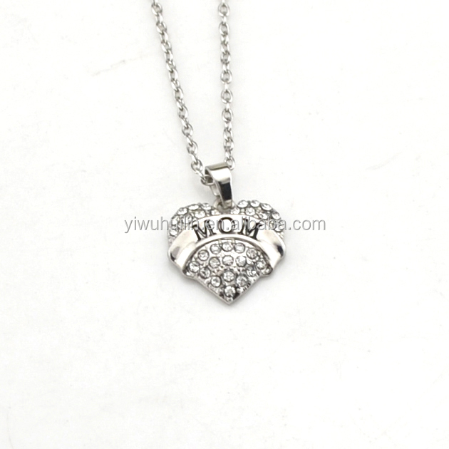 Dainty design MOM diamond heart jewellery cheap necklace