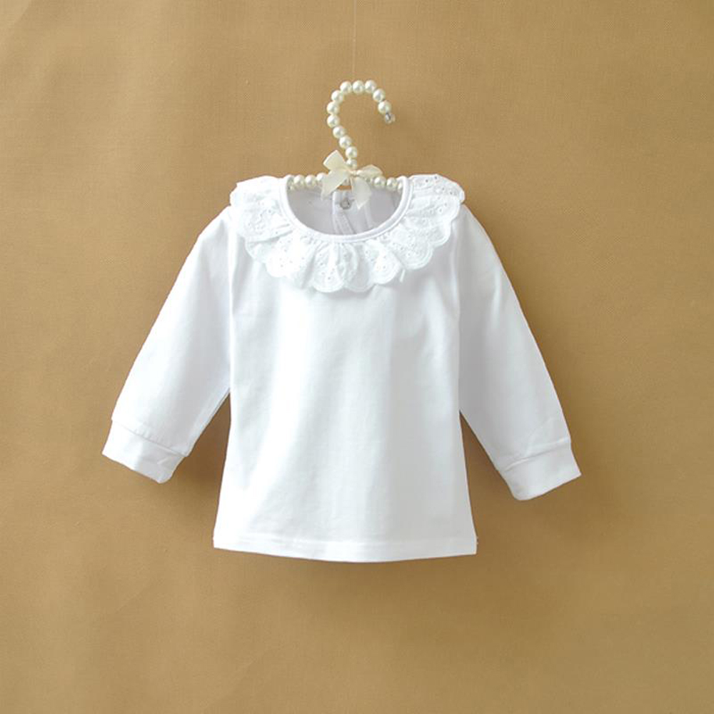 28d64d956 Autumn Children T shirt Baby Girls Tops Cotton Long Sleeve White ...