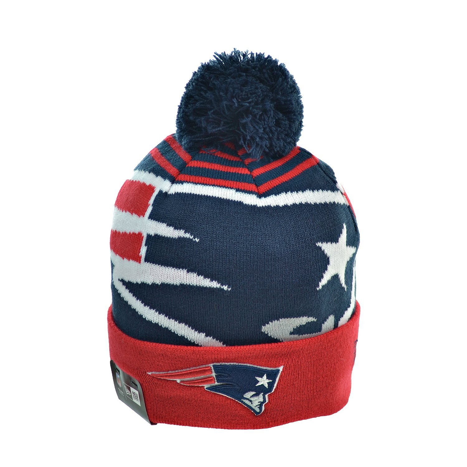 69919e250b38d Get Quotations · New Era New England Patriots NFL Men s Winter Knit Pom  Beanie Red Blue White