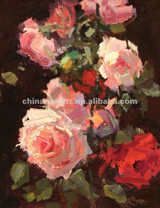 Pink Rose Flowers Oil Painting