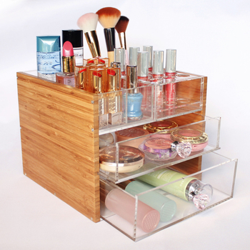 Multi Function Beauty Bamboo Clear Acrylic 2 Drawers Makeup Storage