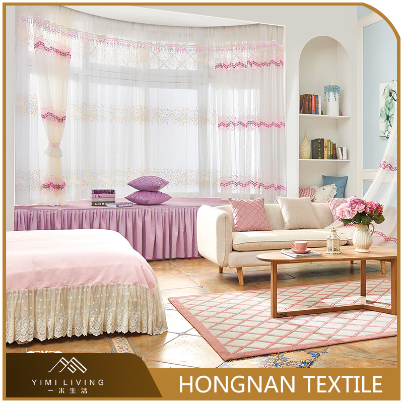 Top quality hot selling classical embroidered sheer voile curtains
