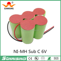 Ni-MH SC 1.2V rechargeable battery Sub C 6v battery pack for electric tools solar light