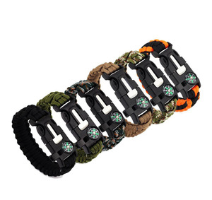 Manufacturer Multifunctional Outdoor Survival Paracord Bracelet Survival with Compass & Firestarter whistle