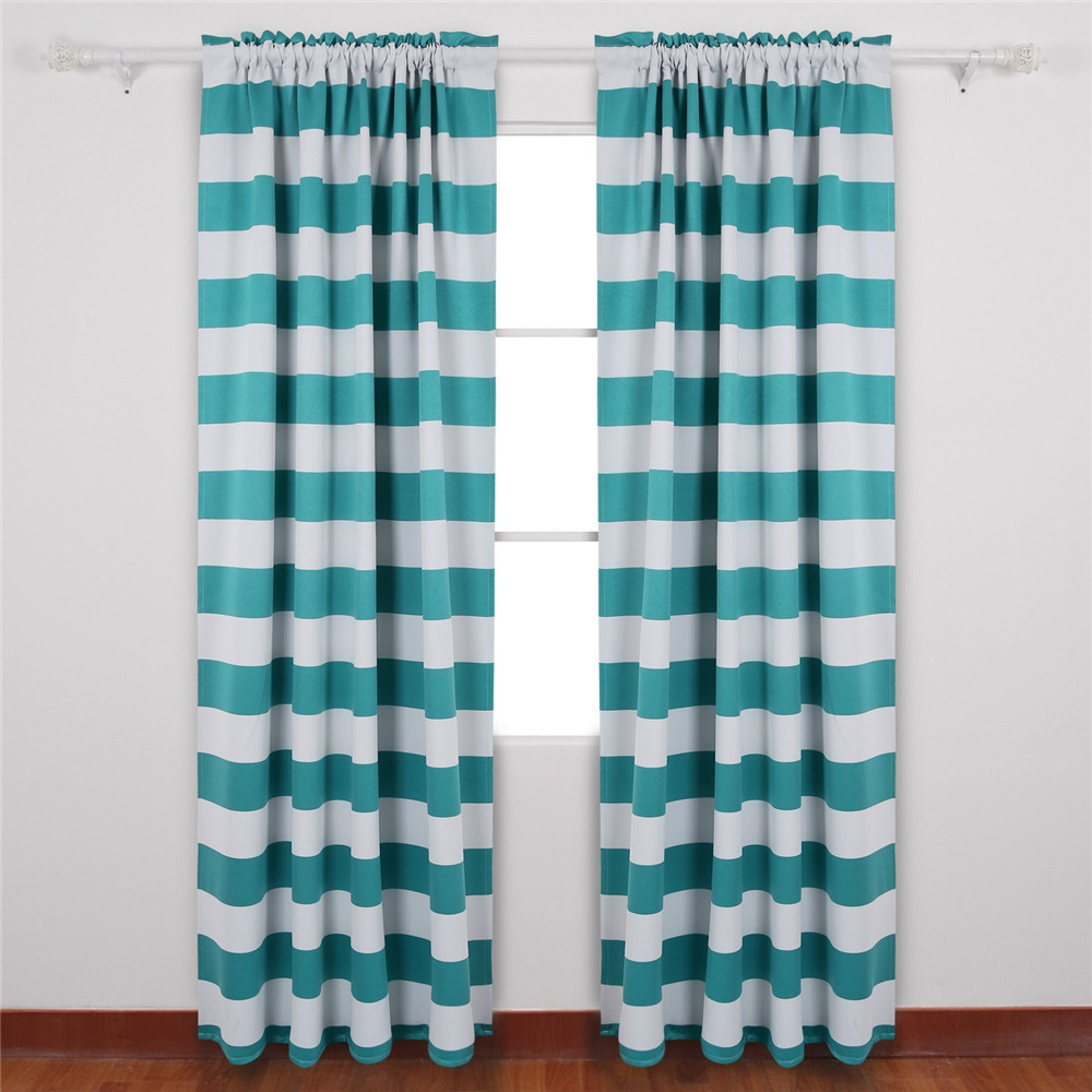 Thermal insulated blackout curtains rod pocket curtains for sliding glass door blue chevron shower curtain