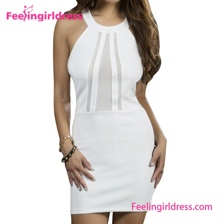 White Bodycon Transparent Sexy Dress For Wholesale