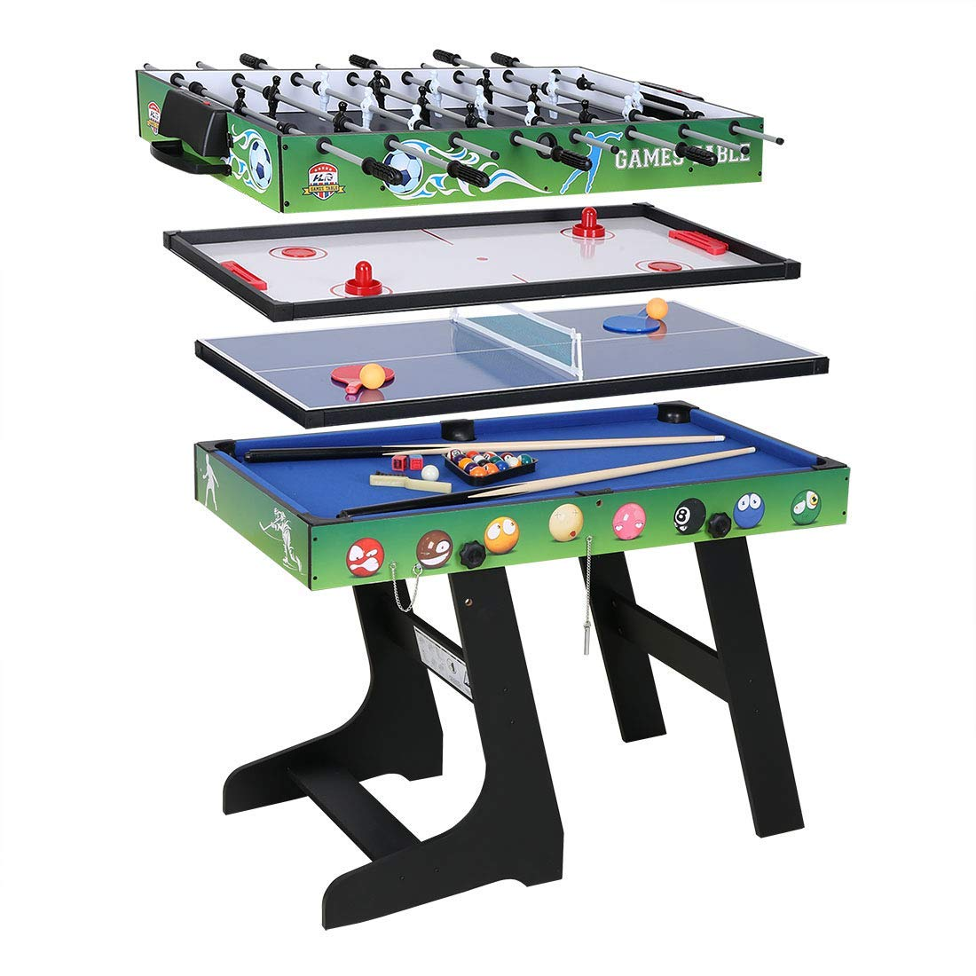 4FT 4-in-1 Multi Combo Game Table- Hockey Table, Foosball Table, Pool Table, Table Tennis Table