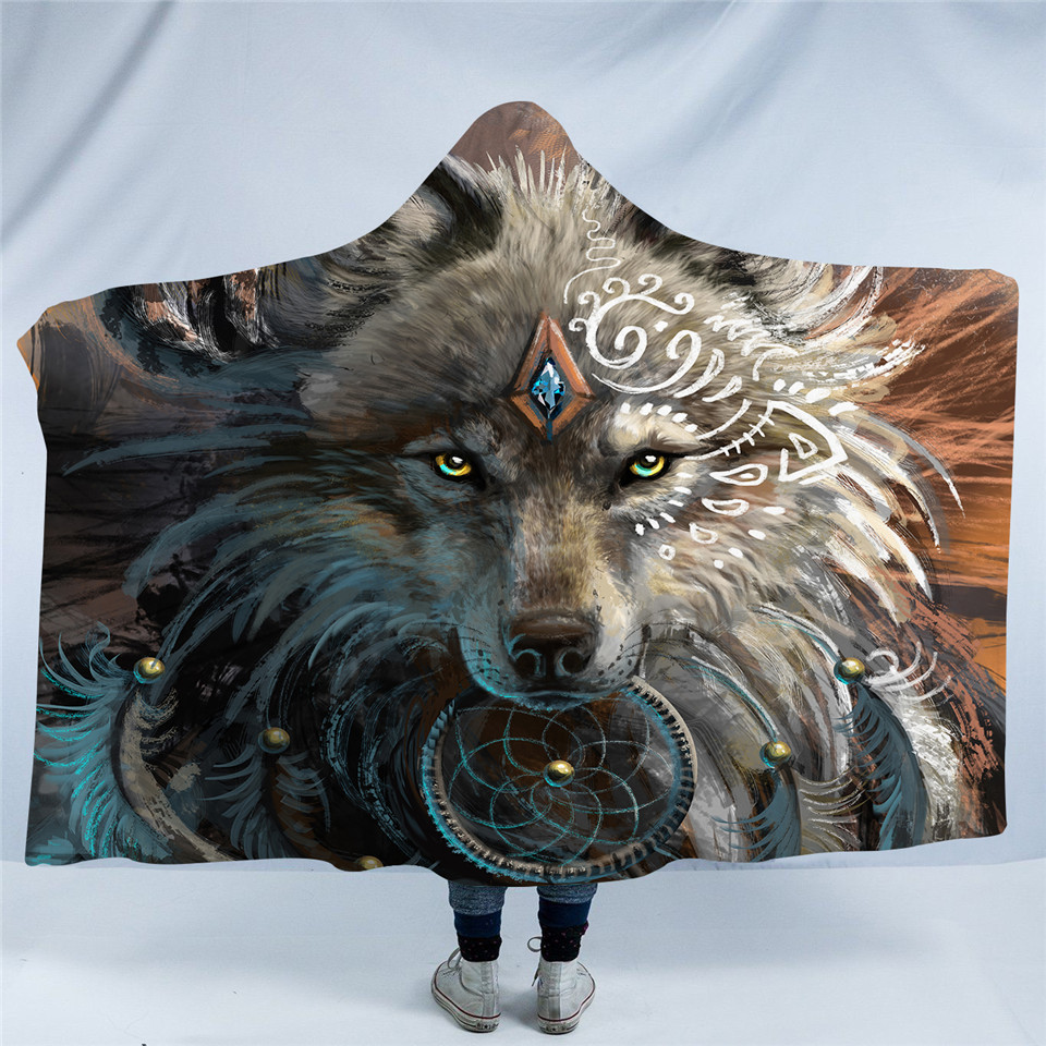 Wolf Warrior Hooded Deken Volwassenen Indian Wolf Dreamcatcher Sherpa Fleece Microfiber Wearable Picknick Worp Deken