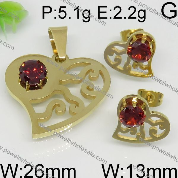 Best price stainless steel jewelry made in india crystal heart set