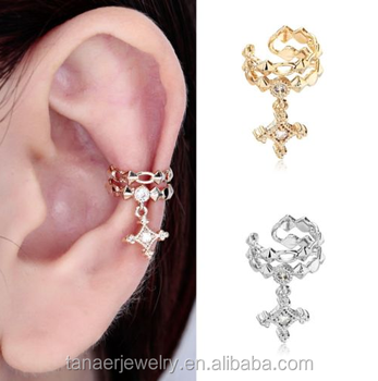 Non Piercing Crystal Crown Mini Upper Helix Ear Clip Cartilage Cuff Earring