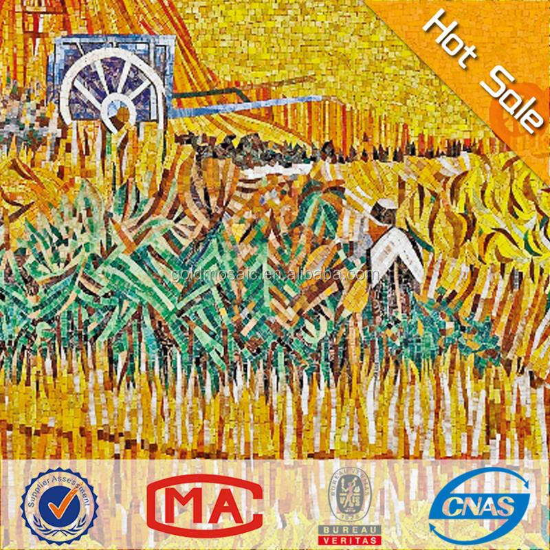 AA The Harvest Wheatfields glass mosaic murals Financial resources rolling auspicious paintings