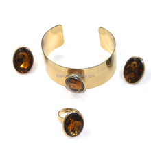 Retro Gold Plated One Stone Jewelry Garnet Necklace Bracelet Ring Earrings Set