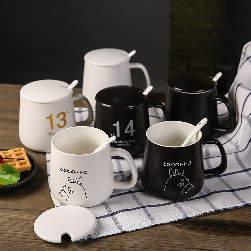 Wholesale porcelain lovers cup 520 1314 creative black white couple  coffee mug with lid spoon