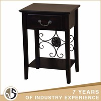 wholesale classical wood side coffee table with single drawer