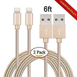 MI-PRO 2PCS! 6ft (nearly 2 meters) Lightning Cables usb data cable for iPhone 6S 6 Plus 6 6 5S 5C 5, iPad 4 Air Air 2 Mini Mini 2 Mini 3(GOLD)