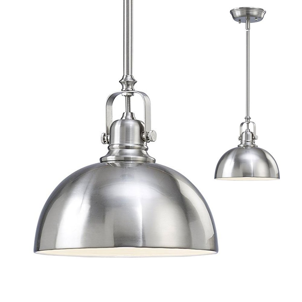 Cheap double pendant light kitchen find double pendant light get quotations kitchen and bar 1 light mini pendant with brushed nickel metal shade aloadofball Images