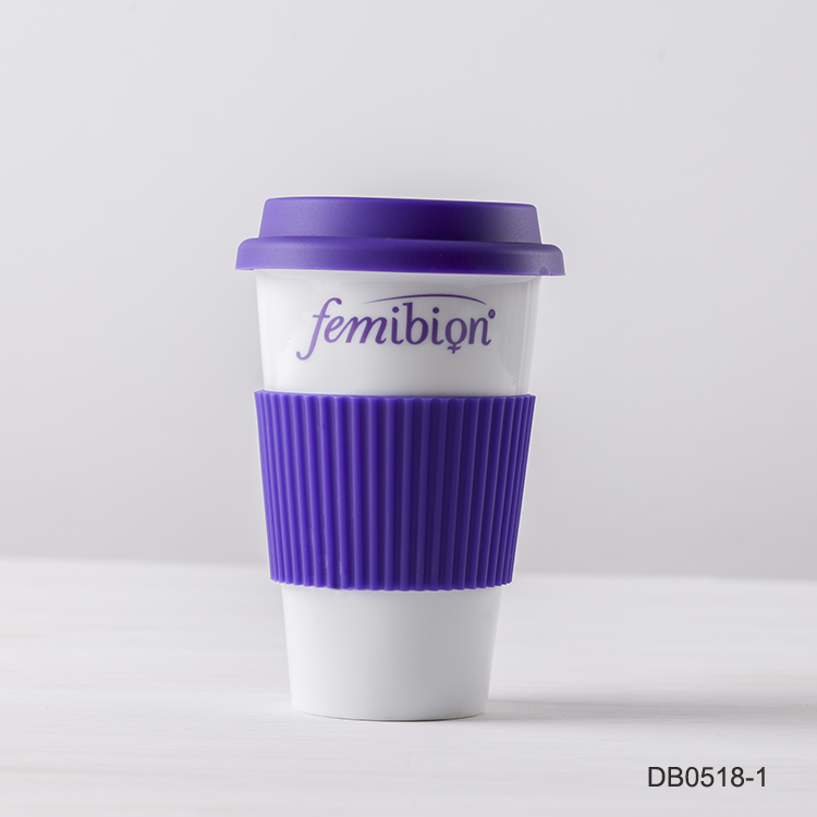 13oz 375cc purple take away mugs porcelain tube isolated silicone wrap logo ceramic mug lidded tumbler with silicone lid cup