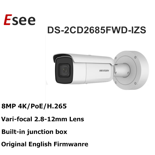 IR 50m HIKVISION Ultra HD 4K DS-2CD2685FWD-IZS Vari-focal motorized Bullet Network Camera 8 MP