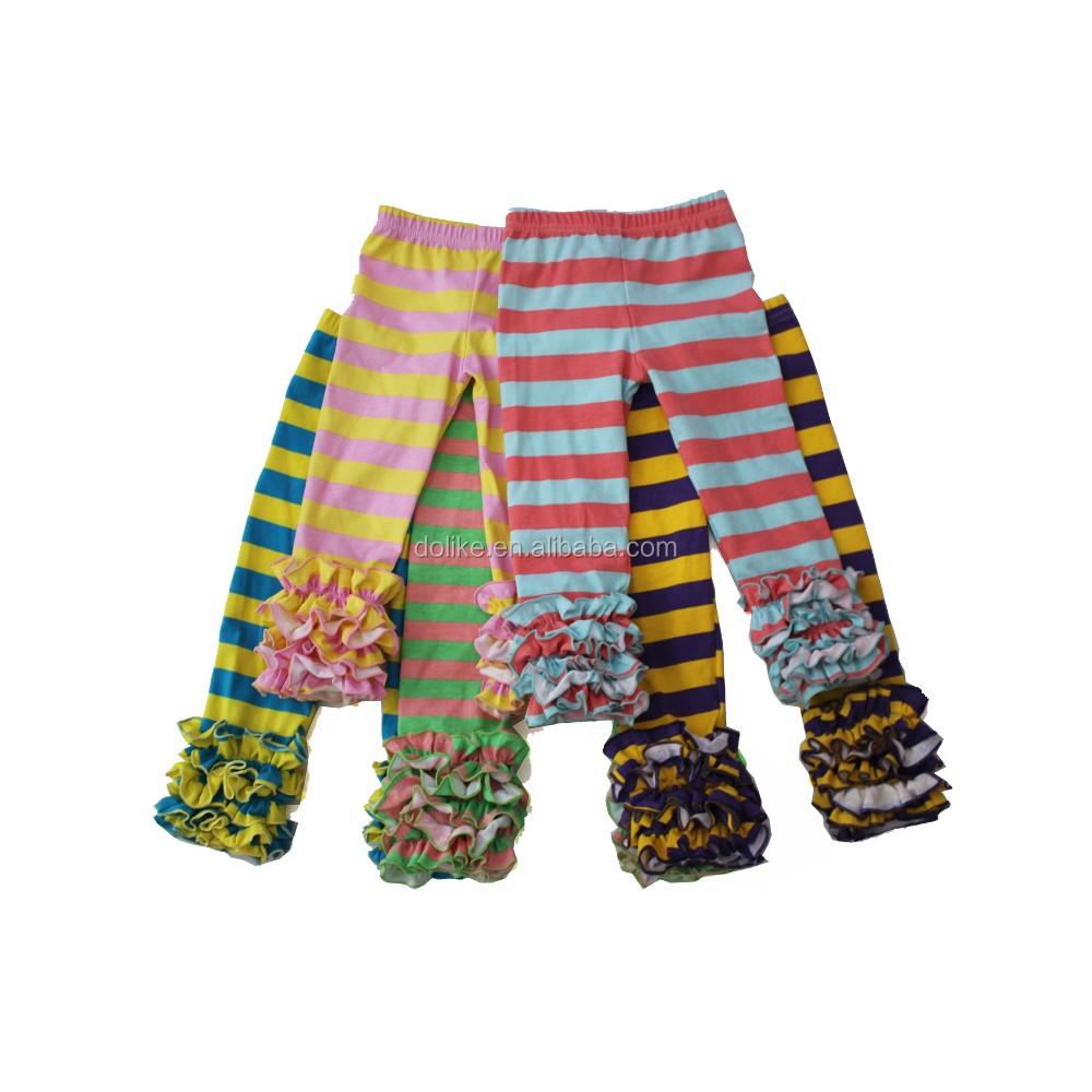2016 New Stripes Full Long Icing Ruffle Pant Girls Legging