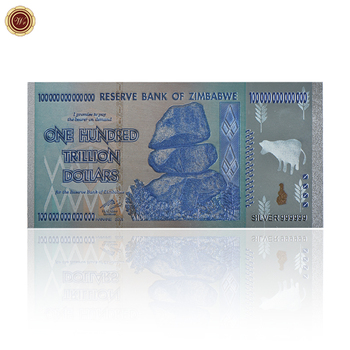 Reserve Bank 100 Trillion Zimbabwe Dollars 24k Silver 999999 Banknote One Hundred Bill Gold
