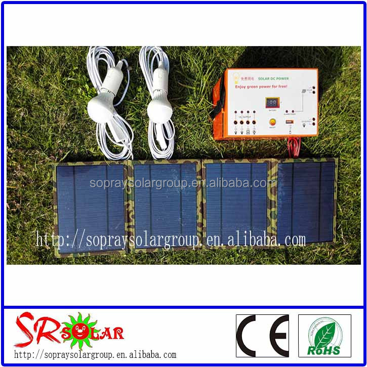 portable 20w solar dc lighting system for camping and outdoor activity