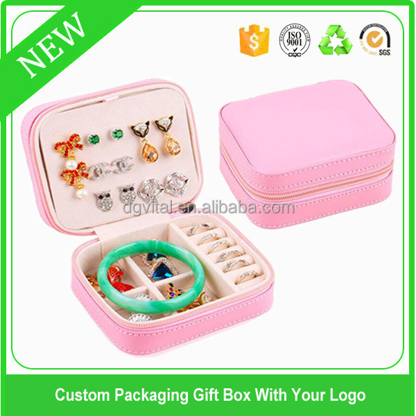 promotion pink leather portable travel jewellery boxes and packaging