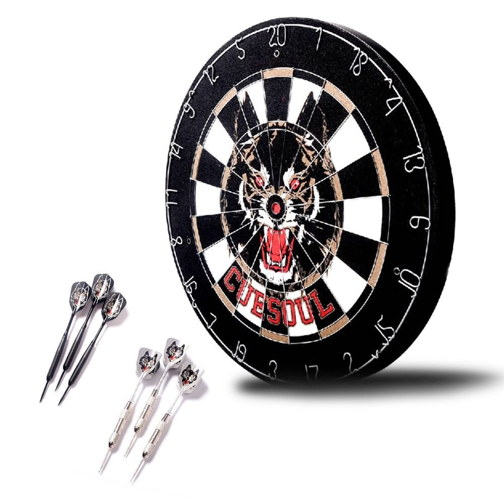 Dart Board, 18-Inch Professional Double-sided Flocking Dartboard and 6 Darts