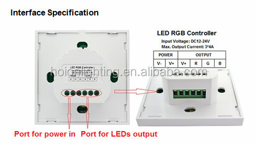 DC12V-24V RF 2.4G led rgb wall panel controller Touch panel led controller with BT remote controller warranty, CE,RoHS