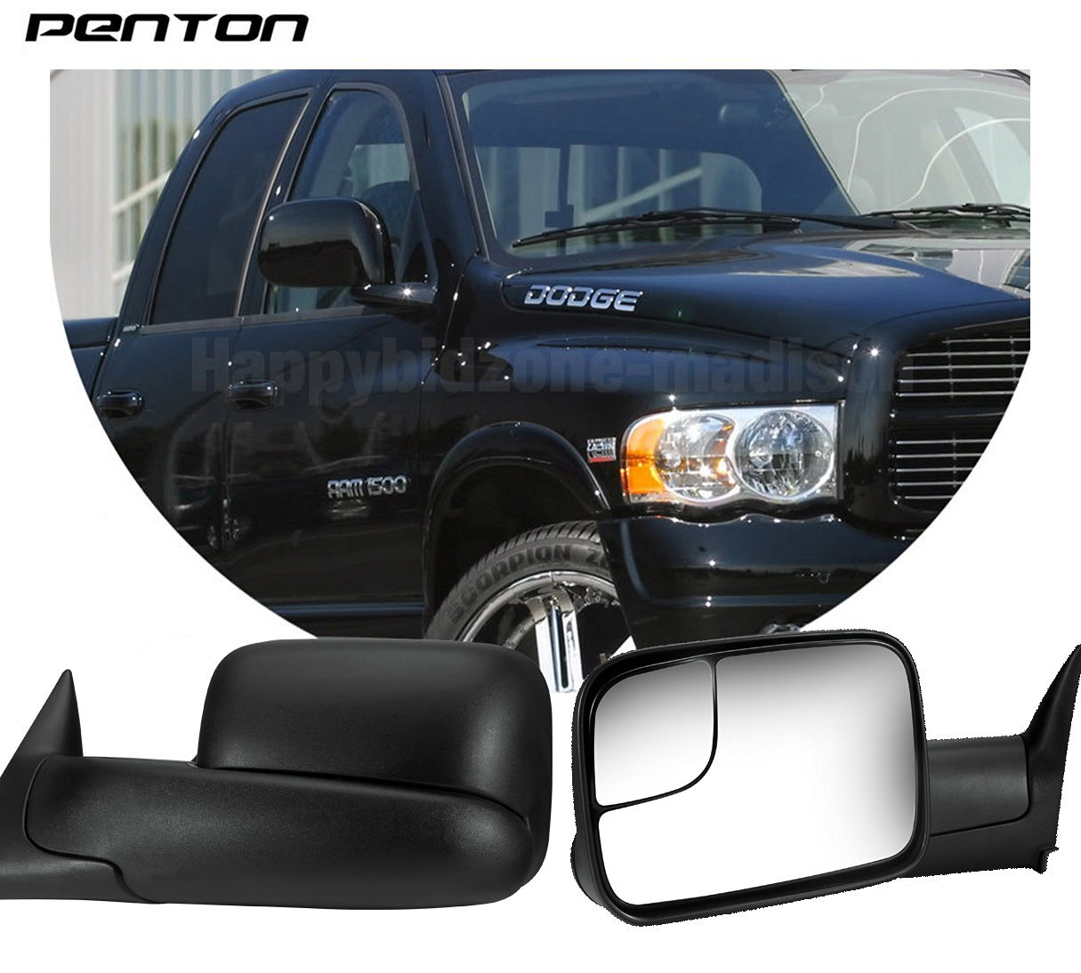 Penton® 1994-2002 Dodge Ram 1500 Pair Manual Towing Fold Out Mirrors 94-02 Ram 2500 3500 US