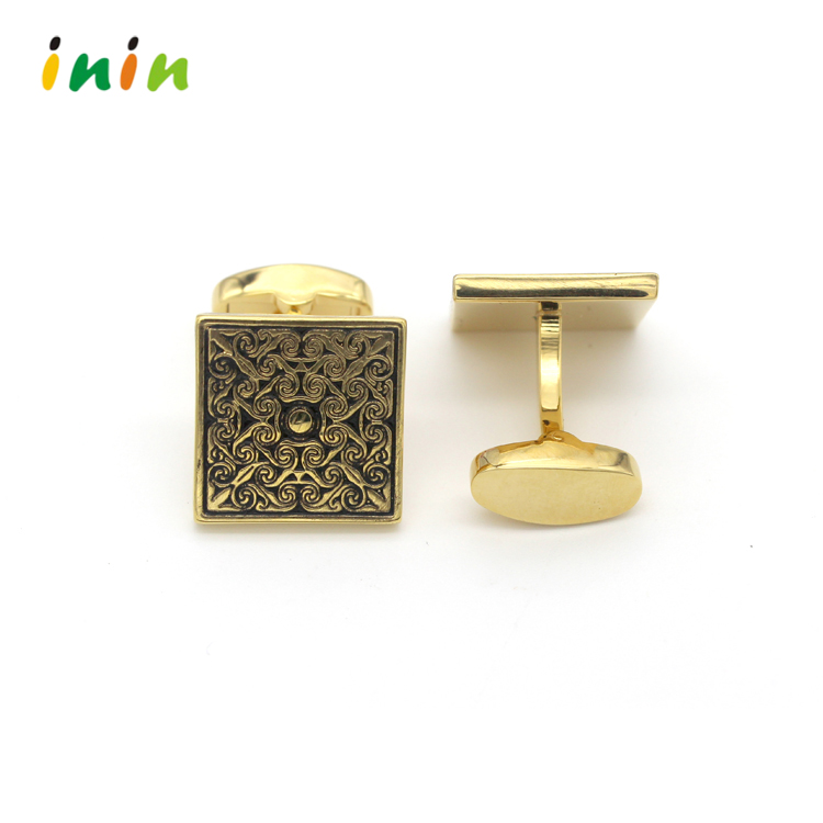 Royal Streak Metal Cufflinks, Gold Plating Squre Shape Brass Cuflfinks With Gift Box
