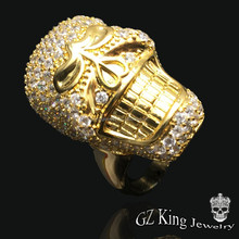 micro pave setting s925 sterling silver gold plated skull ring for men